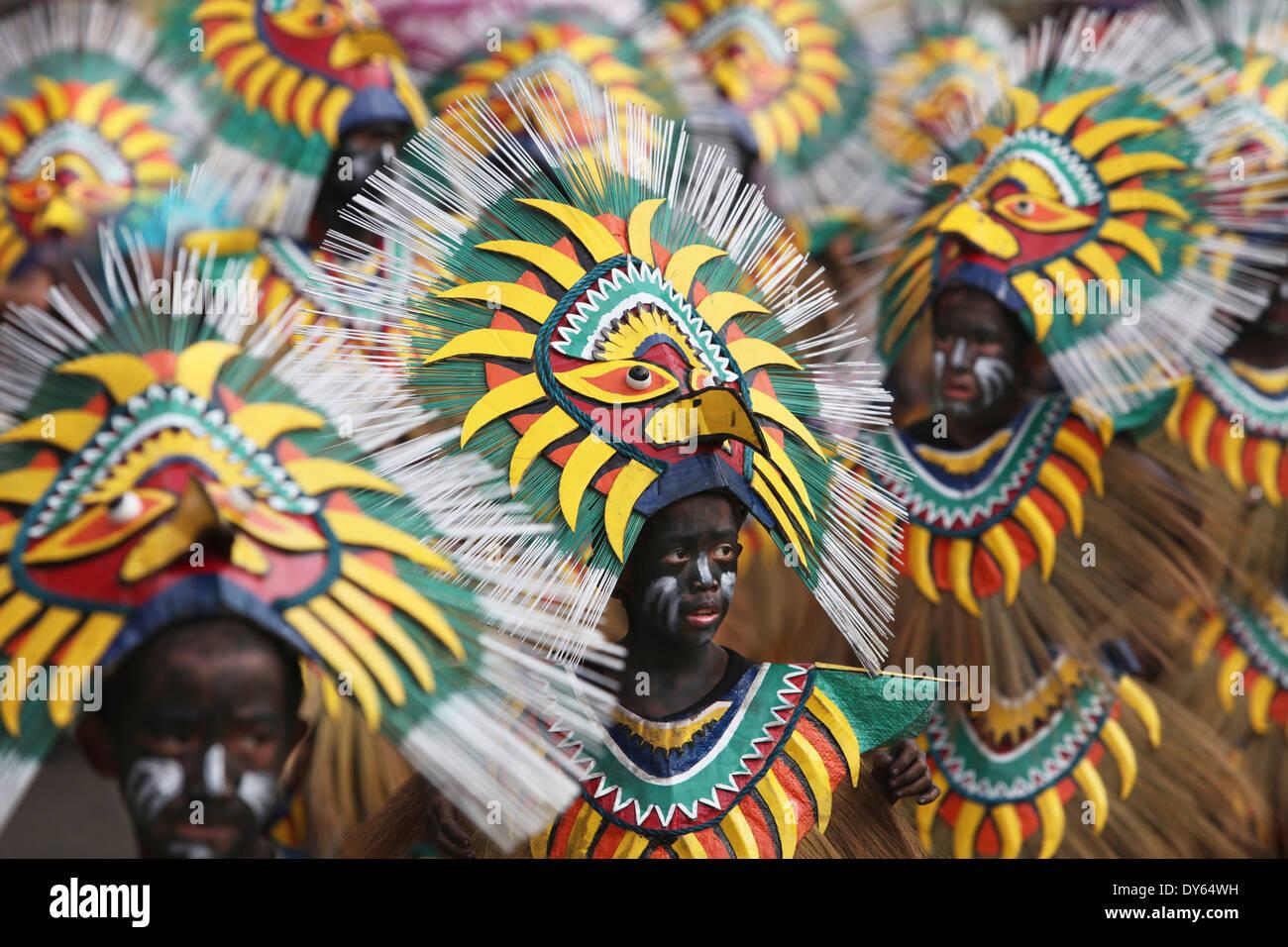Boys at the Ati Atihan Festival wearing clothes, Kalibo Aklan Panay Island, Philippines Stock Photo