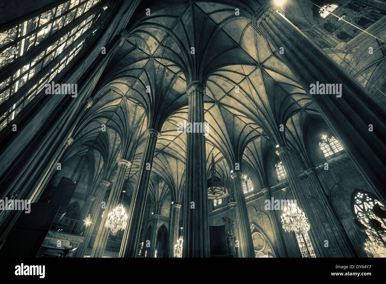 Interior of San Sebastian, the only all-steel church in Asia, Manila, Philippines, Asia - Stock Image