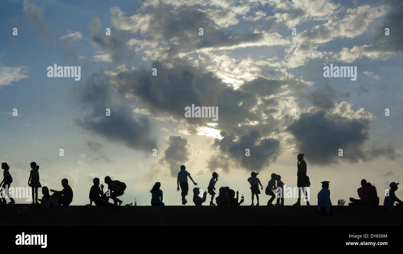 People at Manila Bay, Mall of Asia, Manila, Luzon Island, Philippines - Stock Image