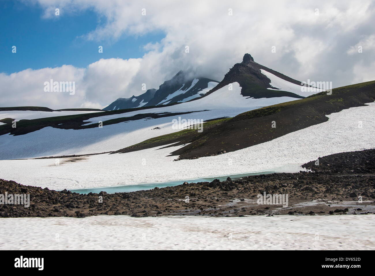 Snowfield below Mutnovsky volcano, Kamchatka, Russia, Eurasia - Stock Image