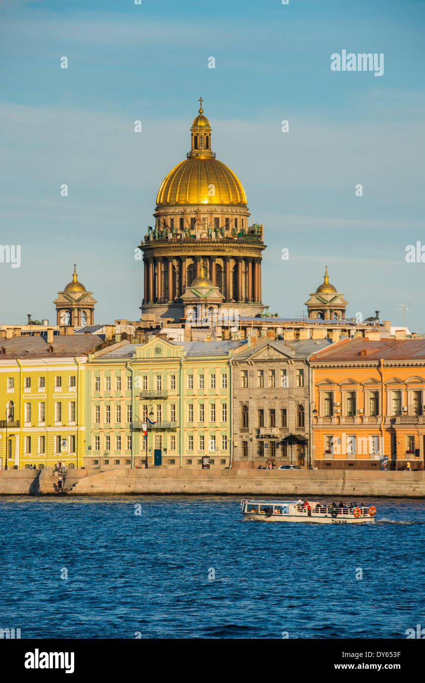 City center of St. Petersburg from the River Neva at sunset with the St. Isaac cathedral in the background, Russia, Europe - Stock Image