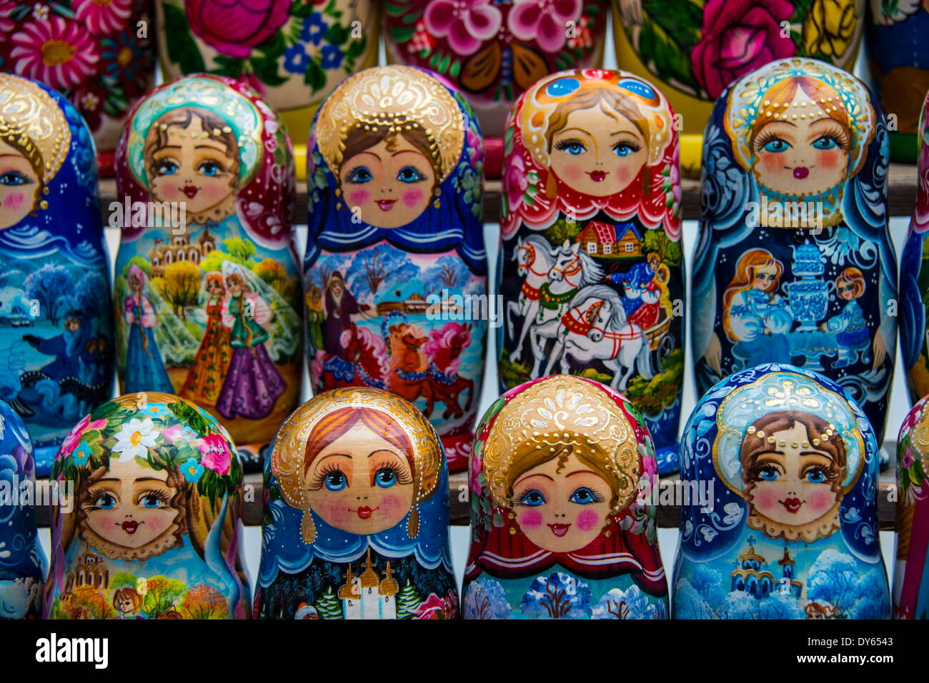 Russian dolls for sale as souvenirs in Kiev (Kyiv), Ukraine, Europe - Stock Image