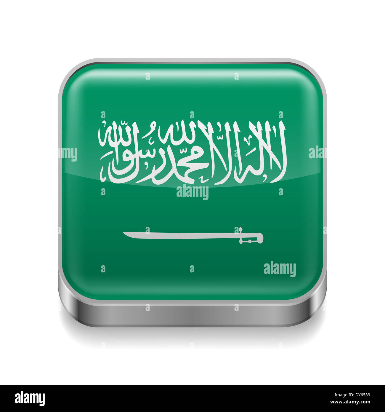 Metal square icon with flag colors of Saudi Arabia - Stock Image