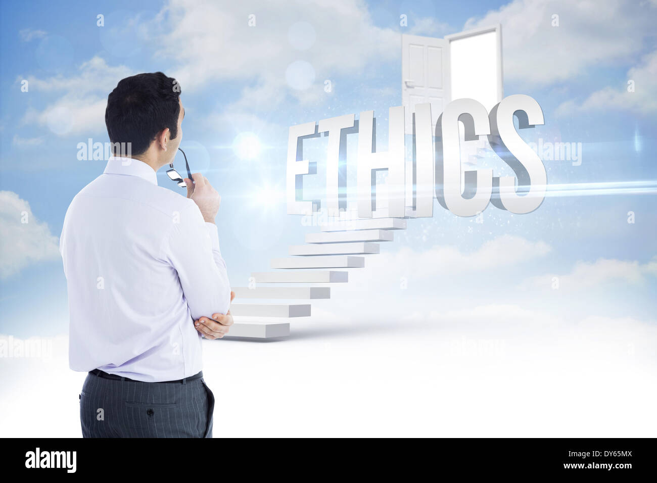 Ethics against steps leading to open door in the sky - Stock Image