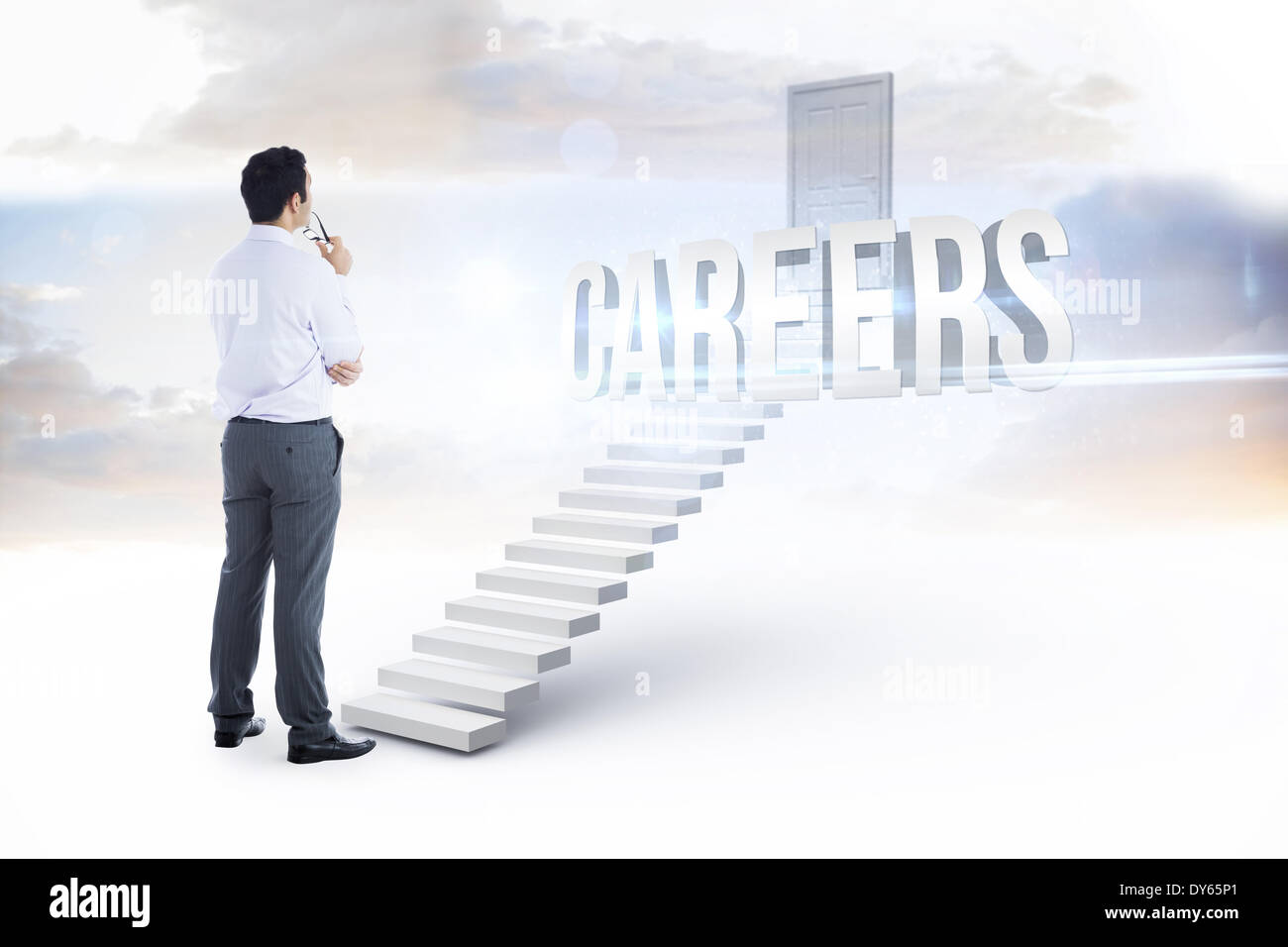 Careers against white steps leading to closed door - Stock Image