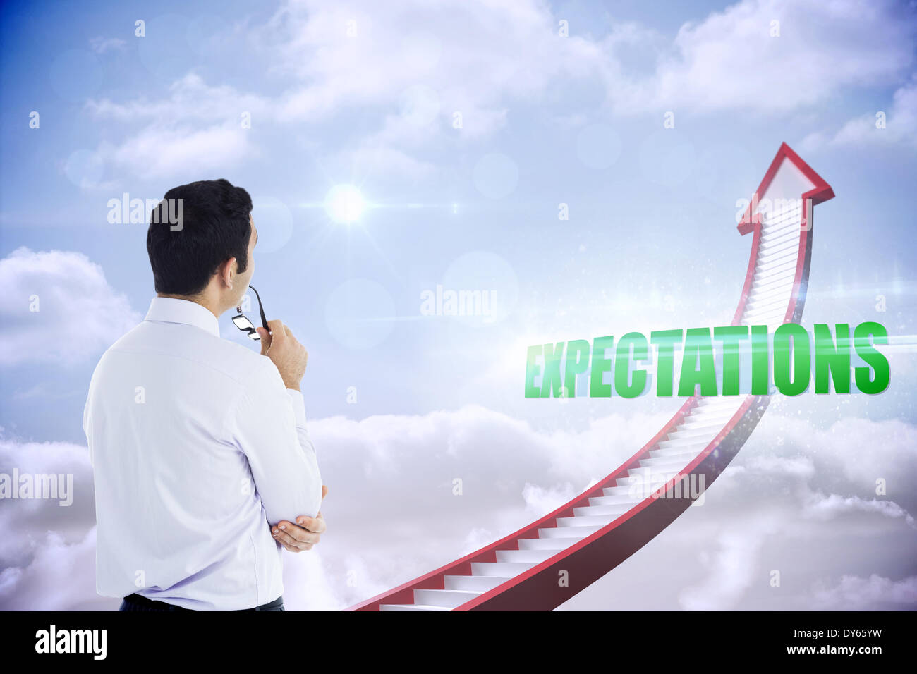 Expectations against red stairs arrow pointing up against sky - Stock Image