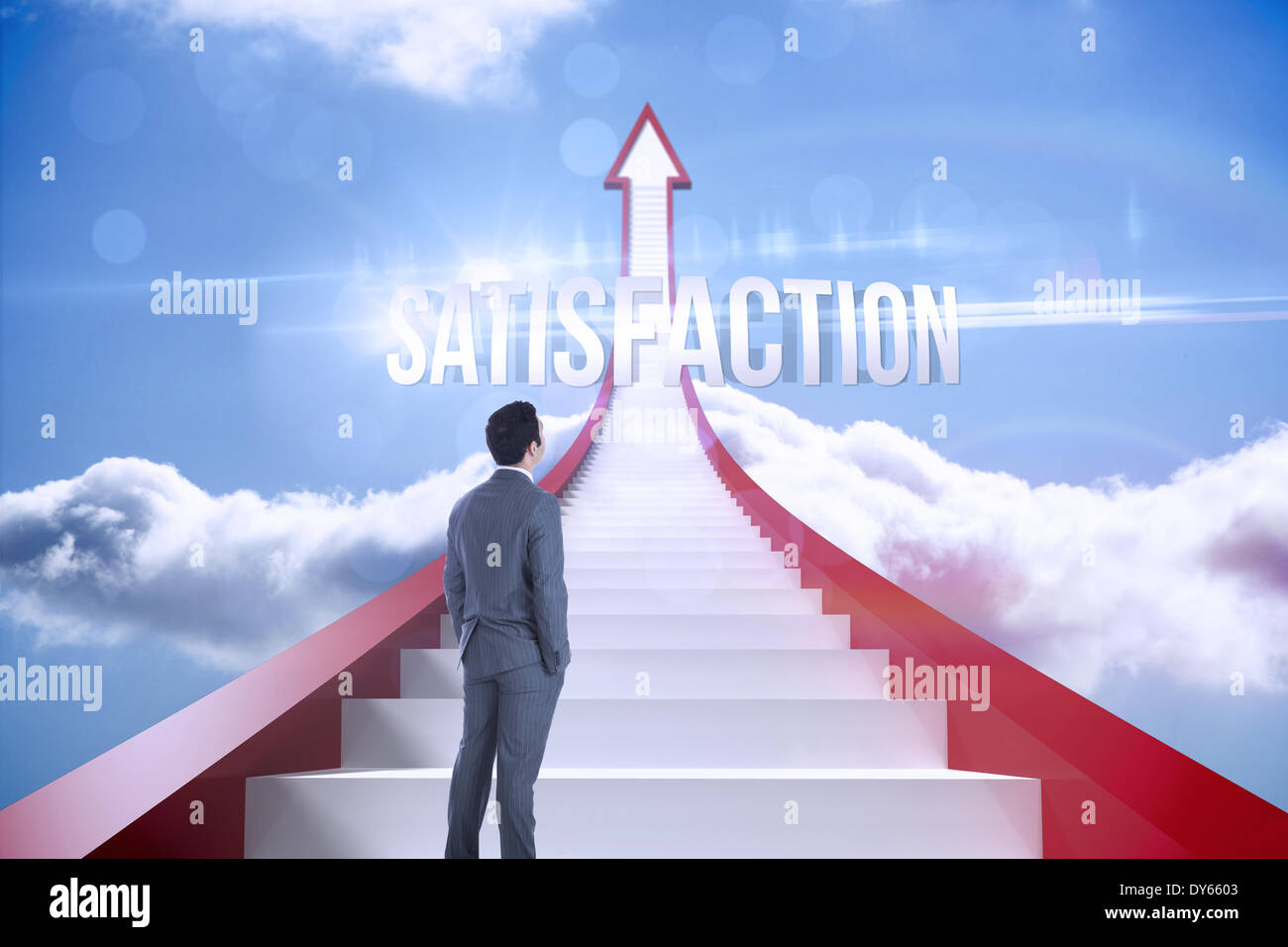 Satisfaction against red steps arrow pointing up against sky - Stock Image