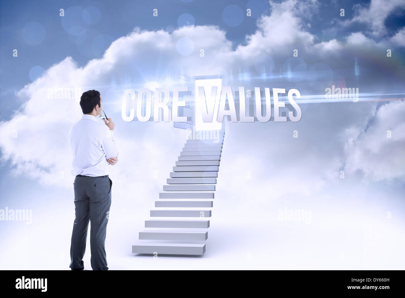 Core values against open door at top of stairs in the sky - Stock Image