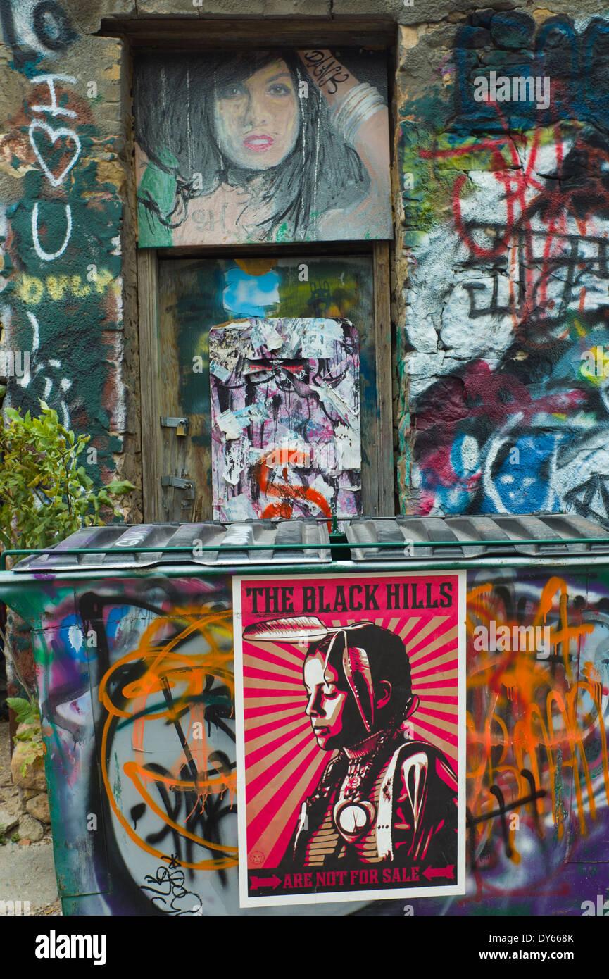 USA, South Dakota, Rapid City, Art Alley, graffiti street art (Editorial Usage Only) - Stock Image