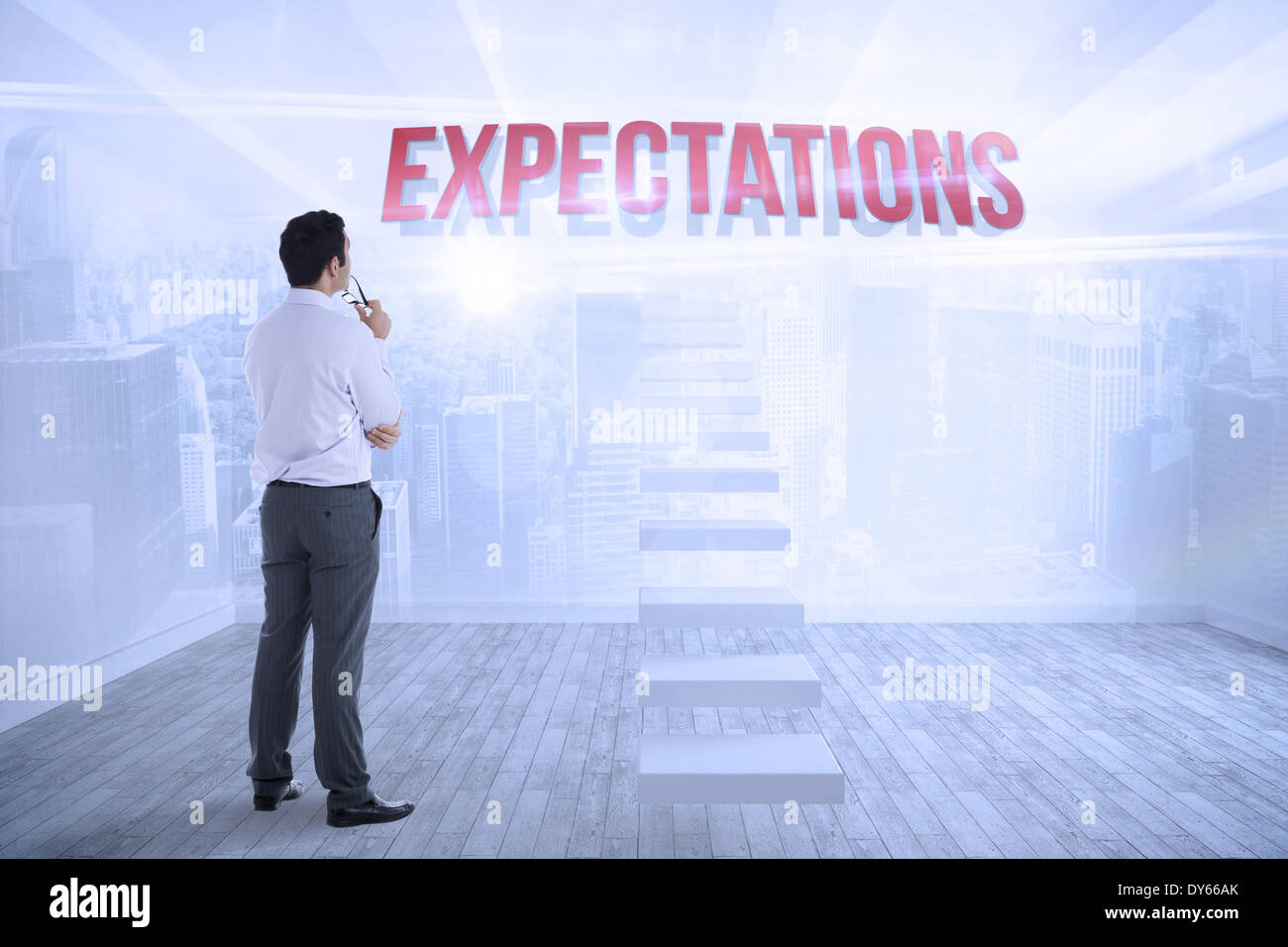 Expectations against city scene in a room - Stock Image