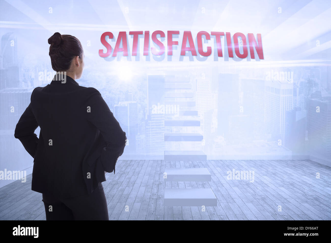 Satisfaction against city scene in a room - Stock Image