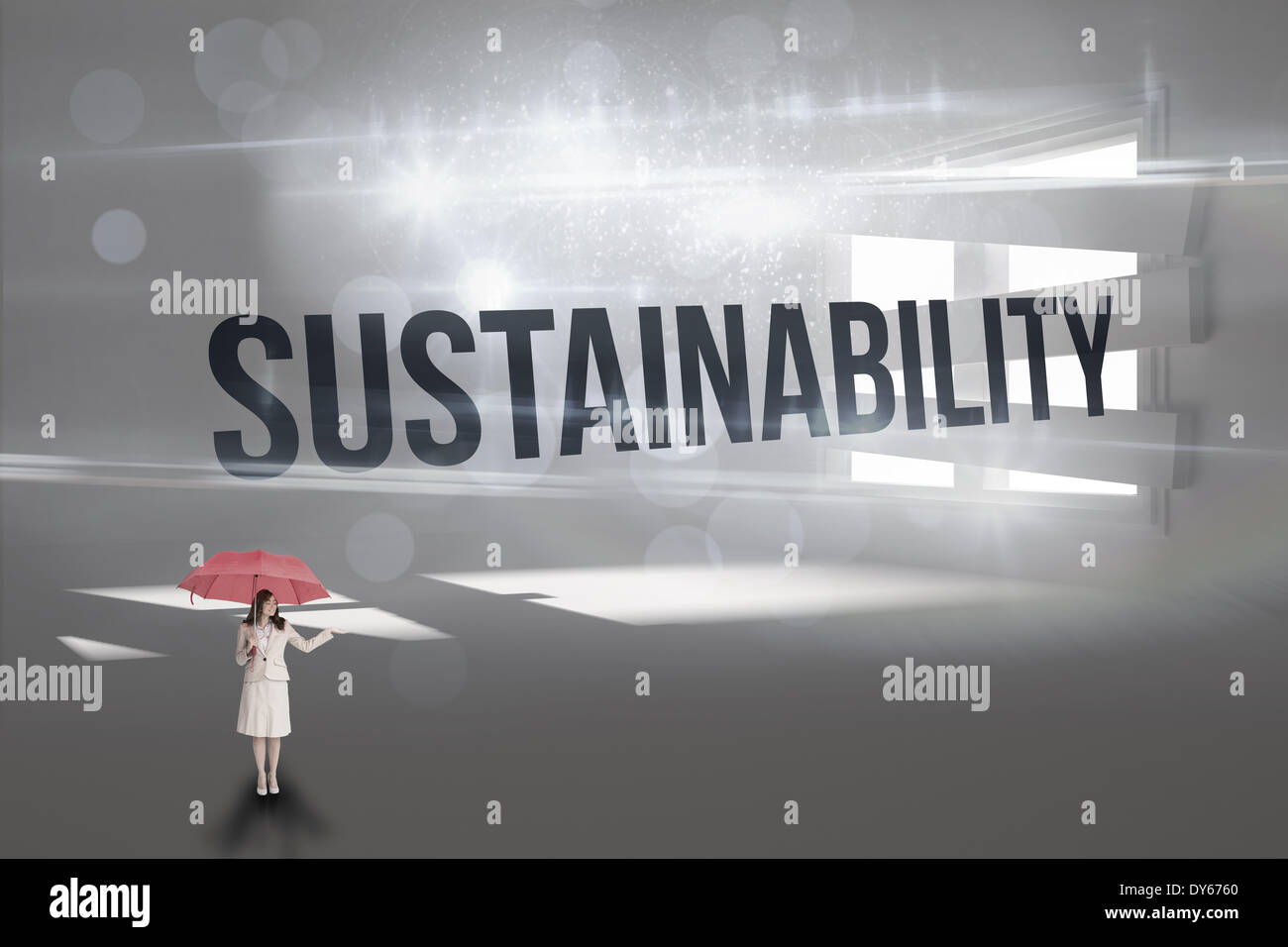 Sustainability against digitally generated room with bordered up window - Stock Image