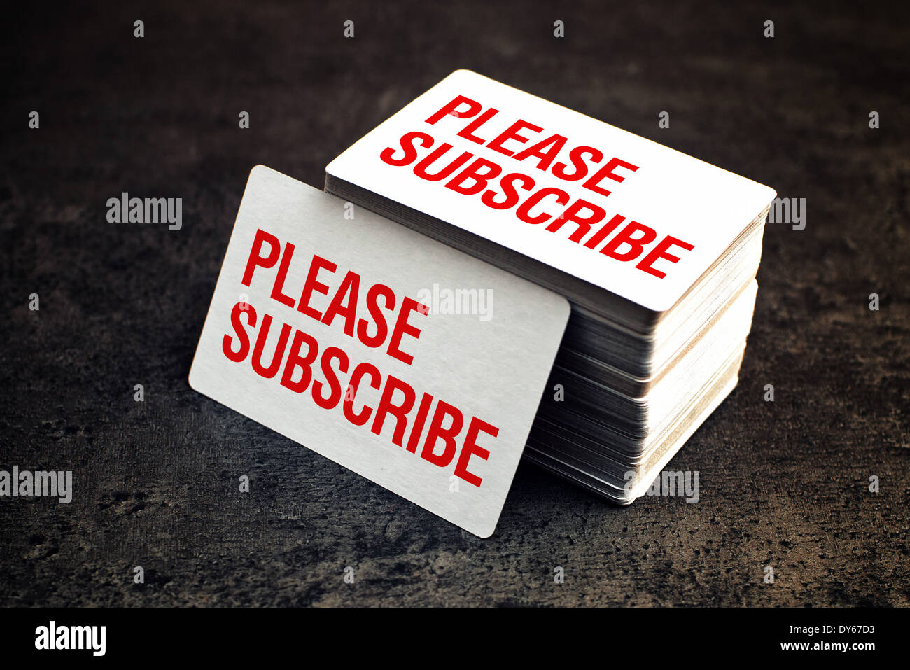 Please subscribe business cards with rounded corners stack of blank please subscribe business cards with rounded corners stack of blank horizontal business cards propped up another reheart Image collections