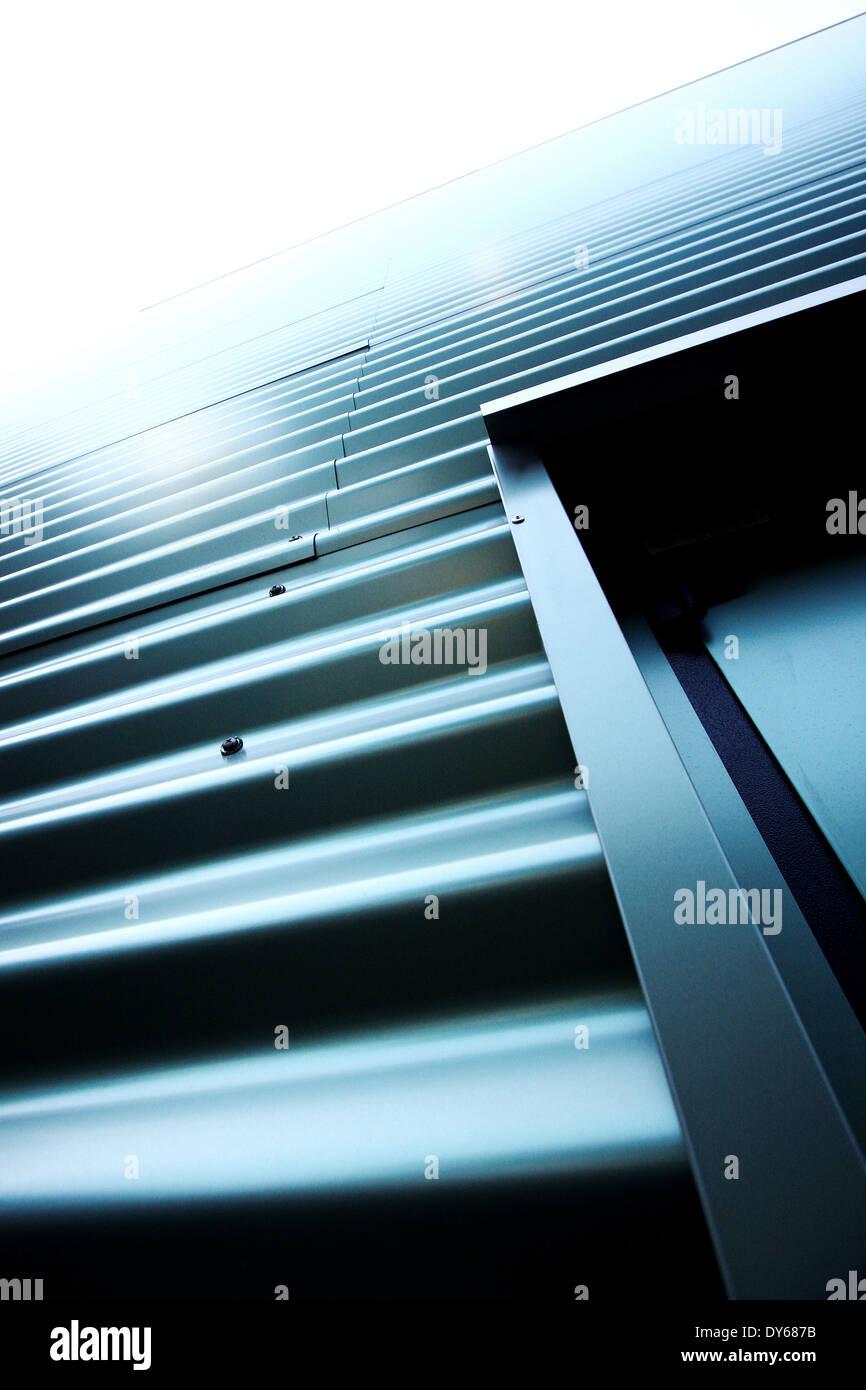Corrugated green iron - Stock Image