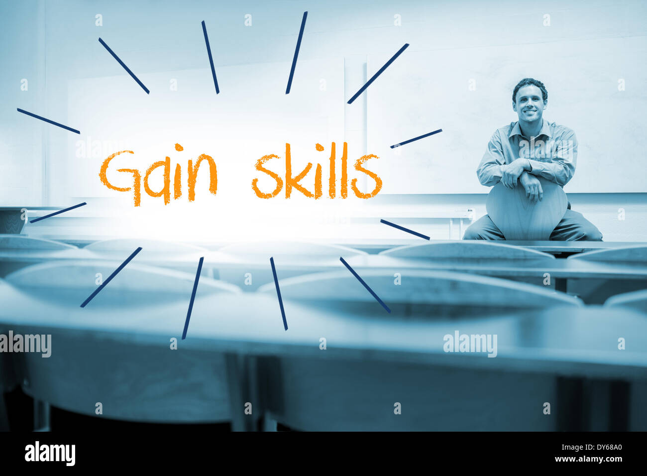 Gain skills against lecturer sitting in lecture hall - Stock Image