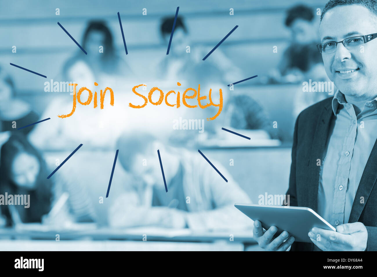 Join society against lecturer standing in front of his class in lecture hall - Stock Image