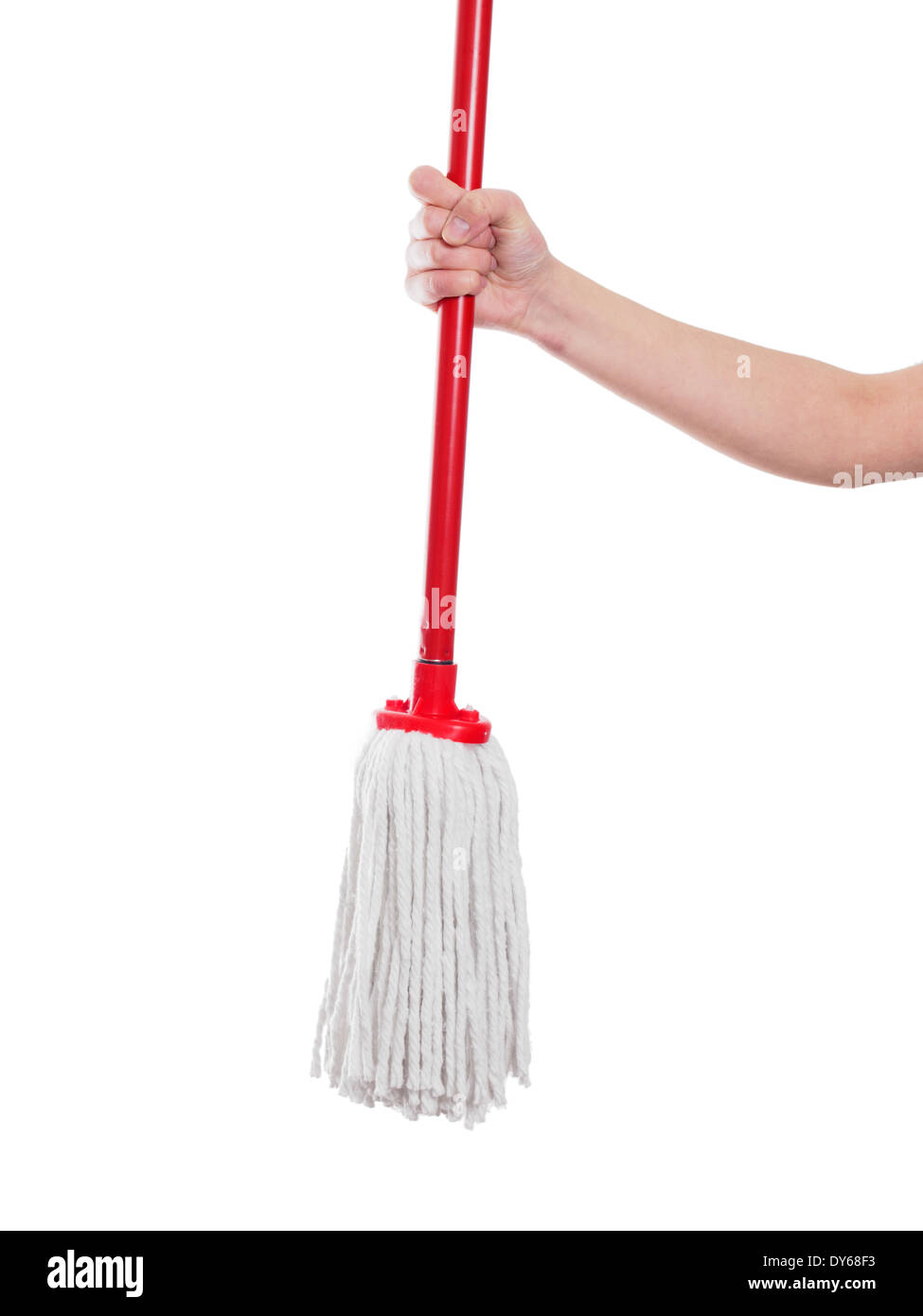 Woman holding red rope mop on a white background - Stock Image