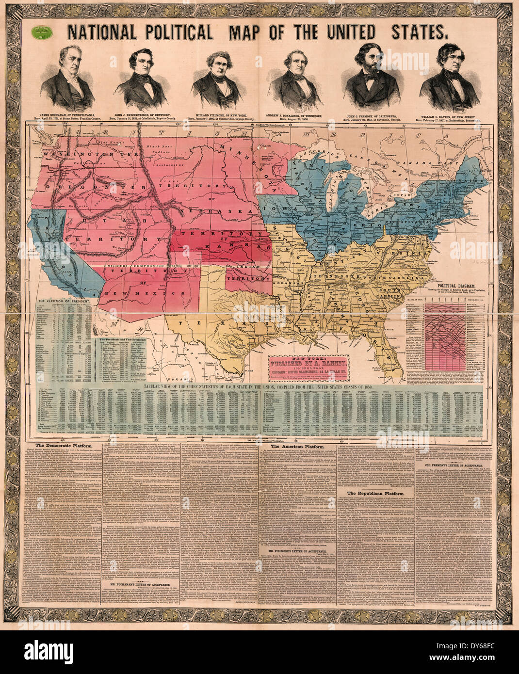 National political map of the United States. 1856 Stock Photo ...