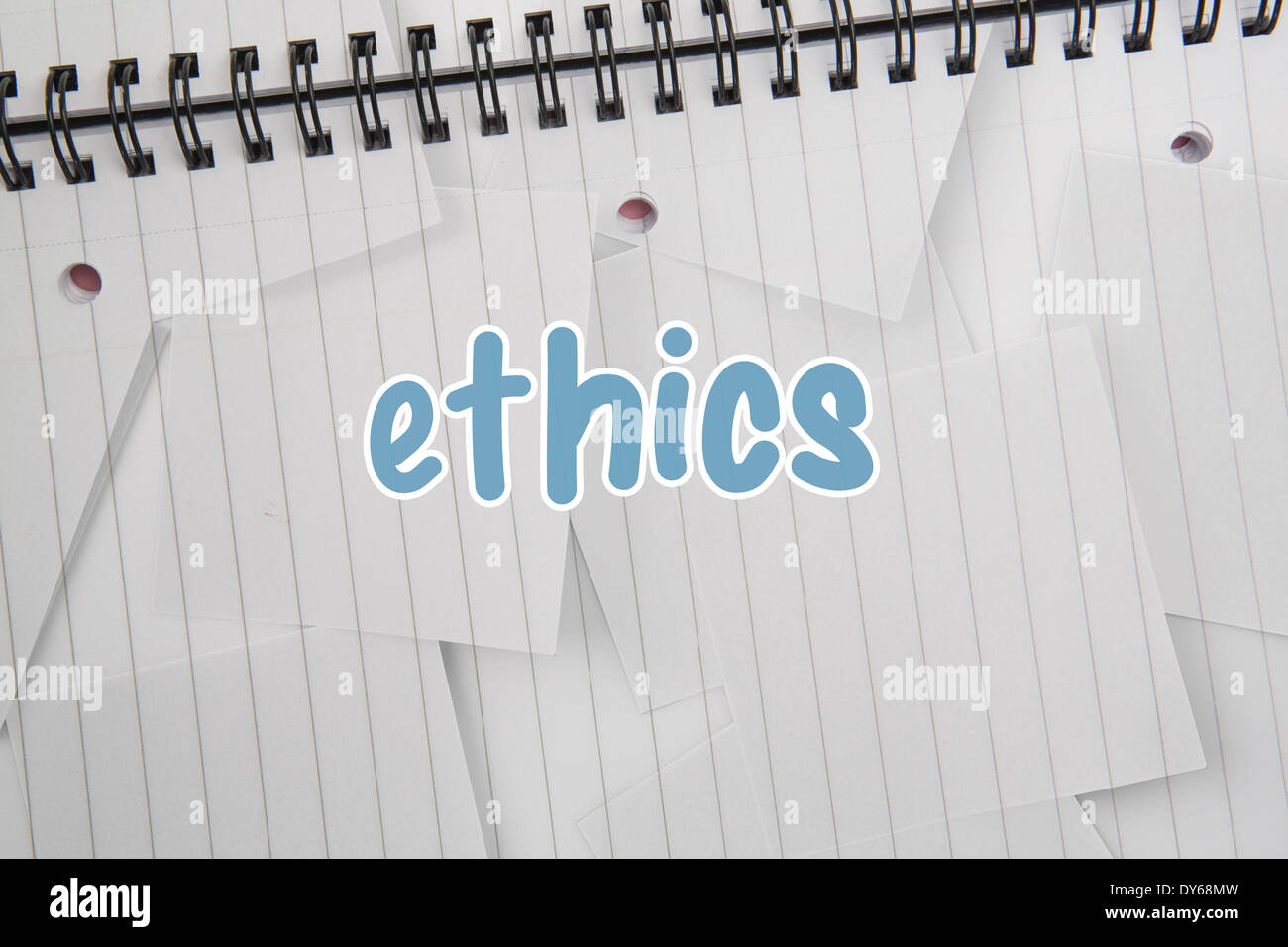 Ethics against digitally generated notepad with lined paper - Stock Image