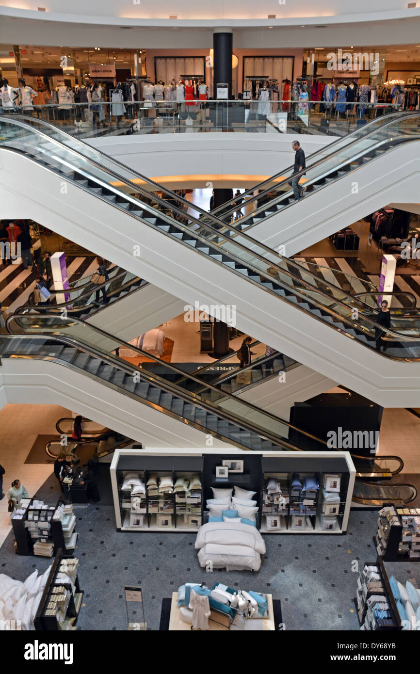 Interior view of 3 floors of bloomingdales at roosevelt field mall in stock photo 68365567 alamy for Roosevelt field garden city ny