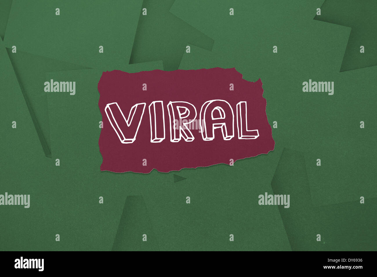 Viral against digitally generated green paper strewn - Stock Image