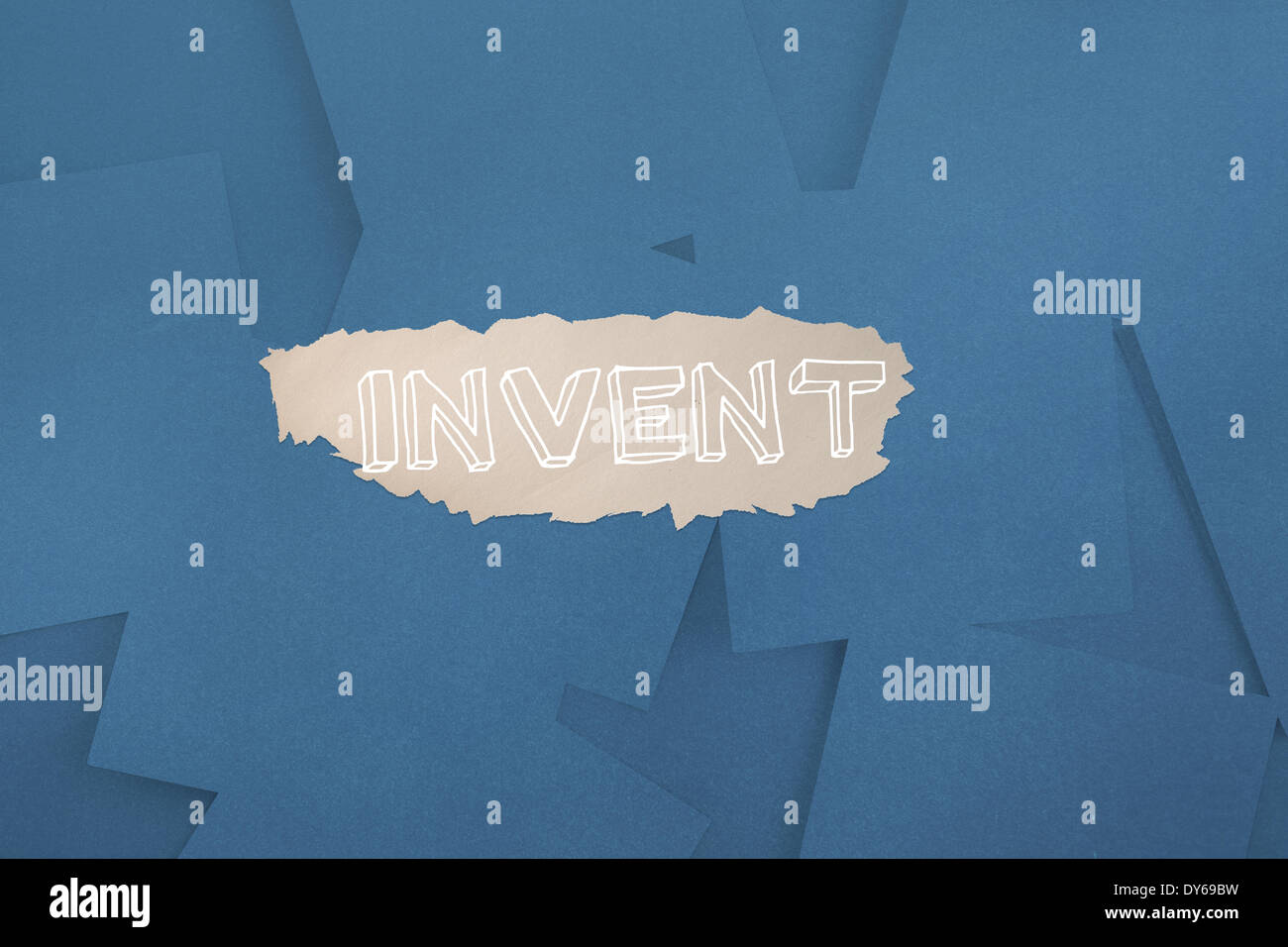 Invent against digitally generated blue paper strewn - Stock Image