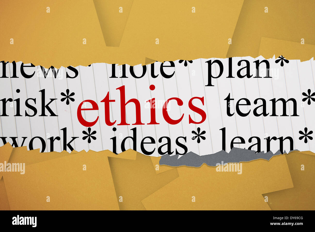 Ethics against digitally generated orange paper strewn - Stock Image