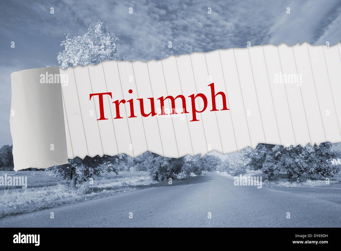 Triumph against warped road - Stock Image
