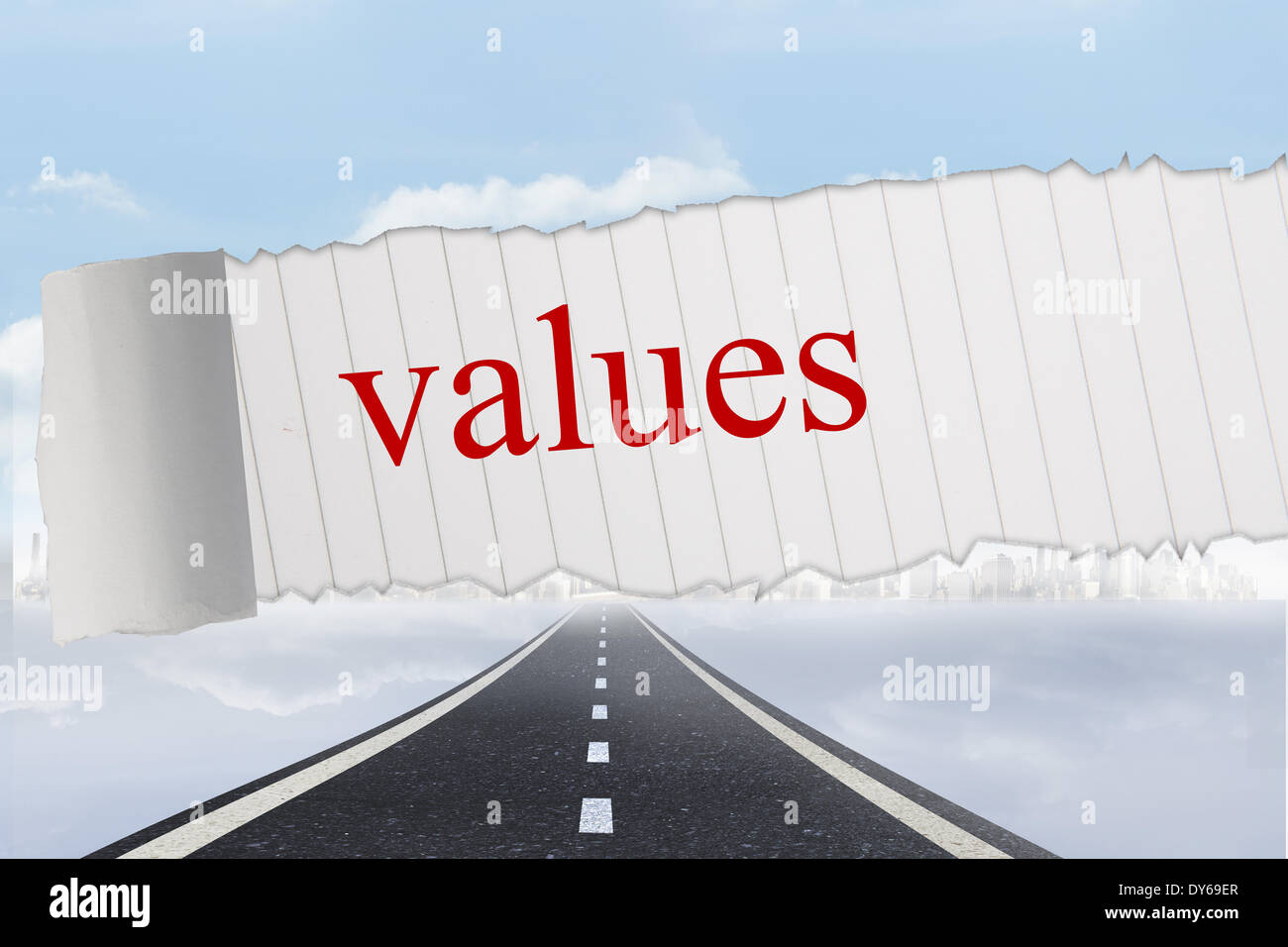 Values against open road background - Stock Image