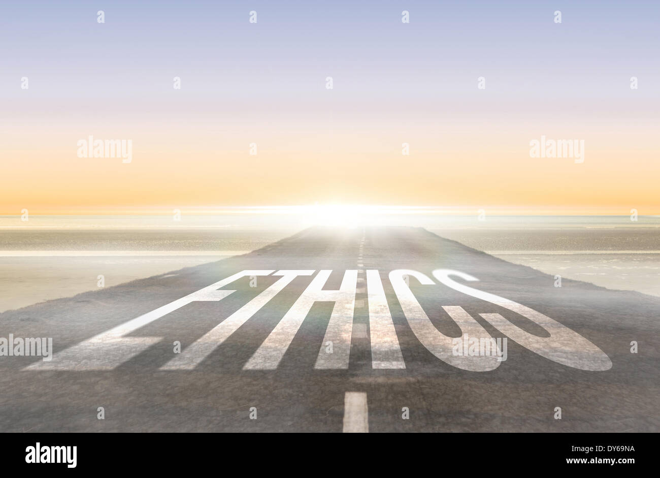 Ethics against road leading out to the horizon - Stock Image
