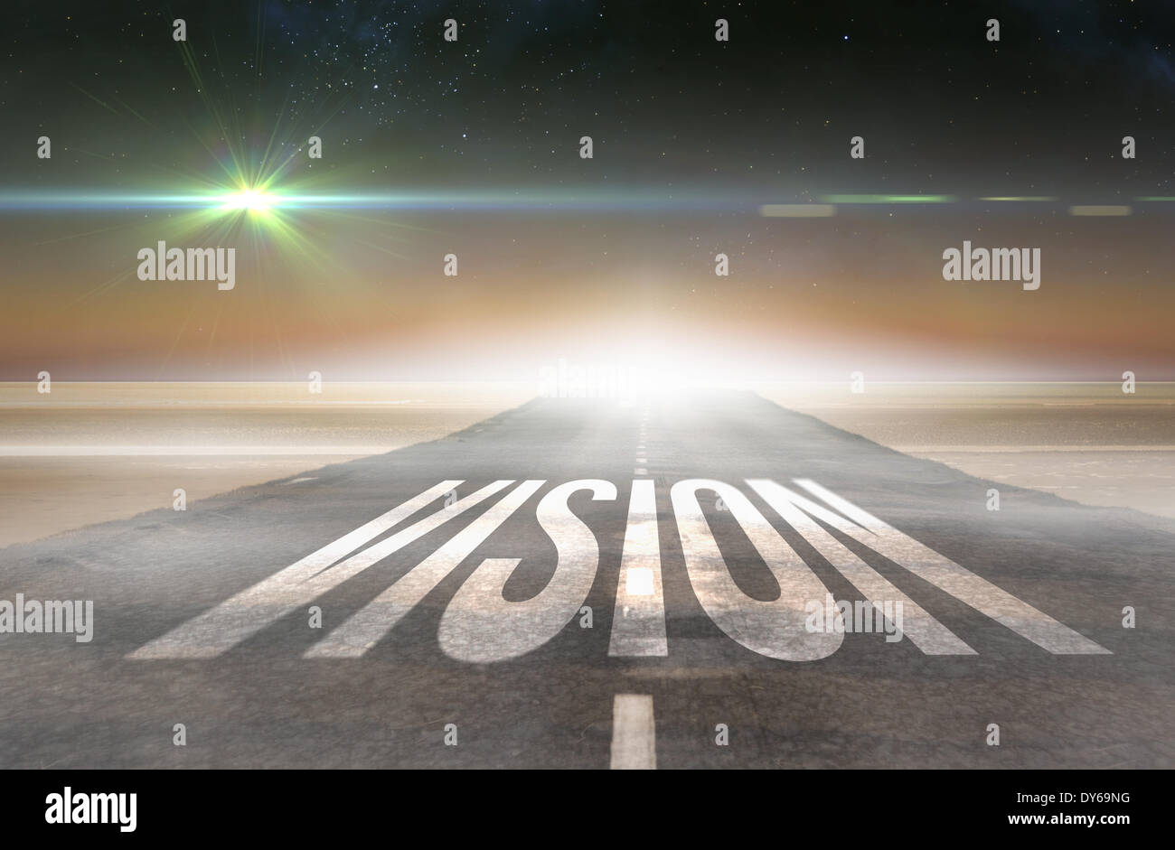 Vision against road leading out to the horizon - Stock Image