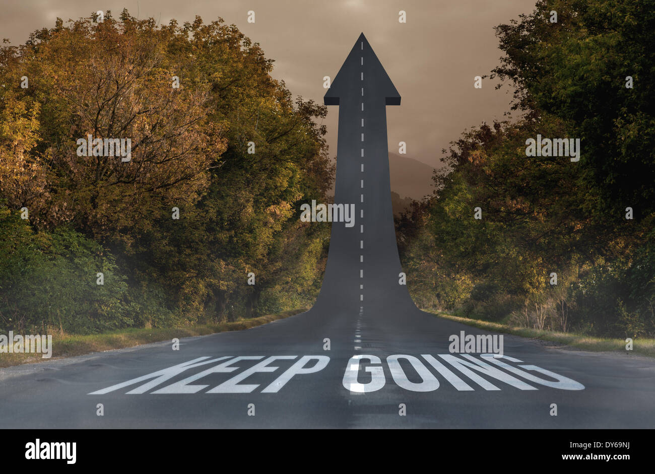 Keep going against road turning into arrow - Stock Image