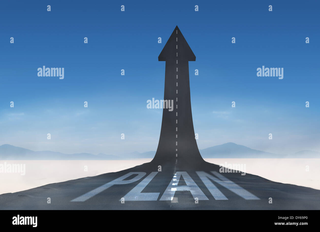Plan against road turning into arrow - Stock Image