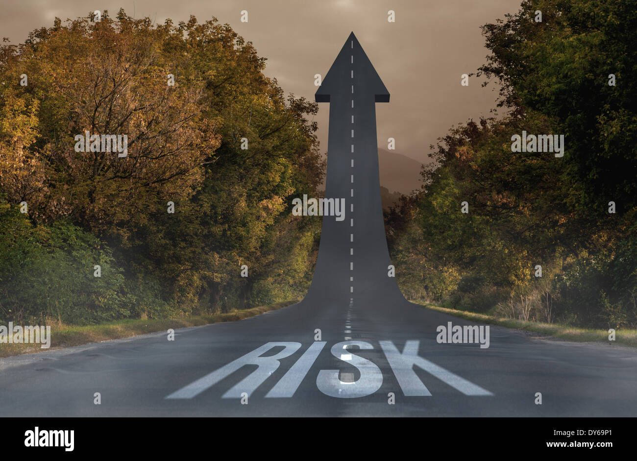 Risk against road turning into arrow - Stock Image
