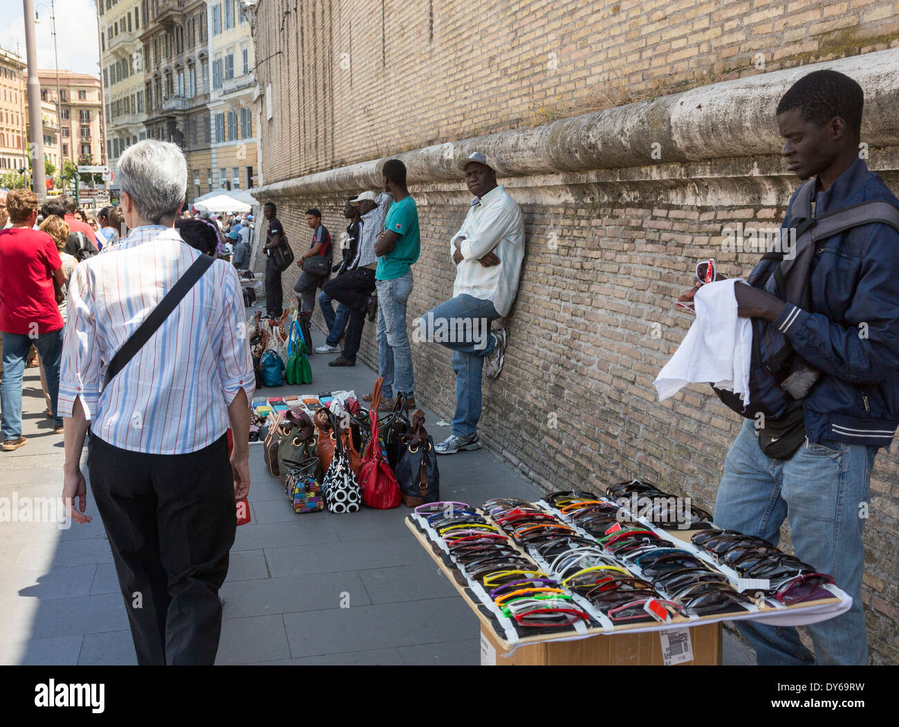 African street sellers, Rome, Italy - Stock Photo