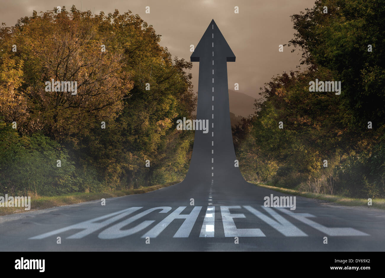 Achieve against road turning into arrow - Stock Image
