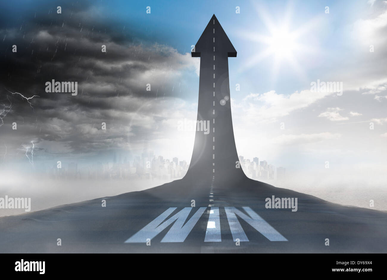 Win against road turning into arrow - Stock Image