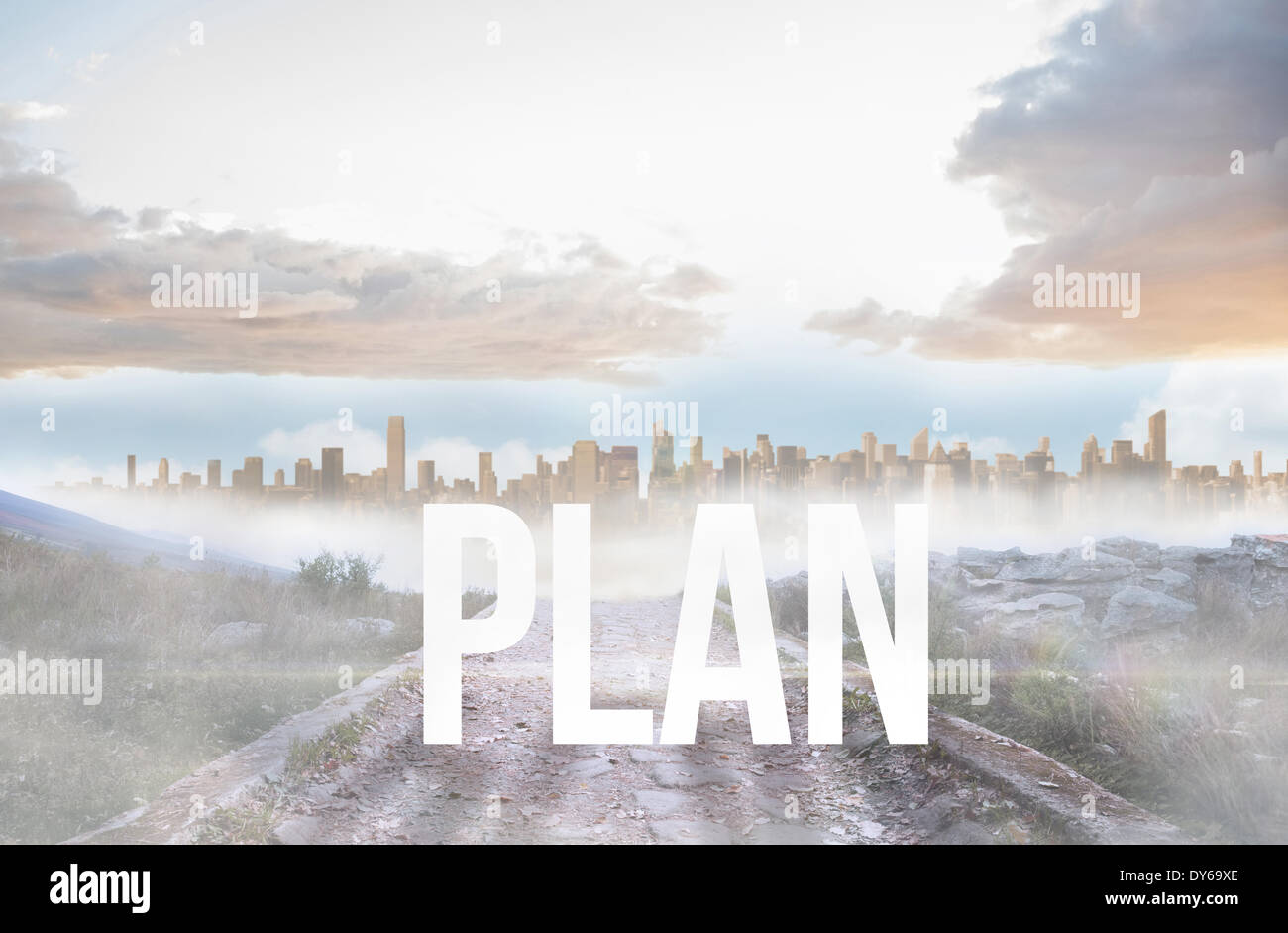 Plan against rocky path leading to large urban sprawl - Stock Image