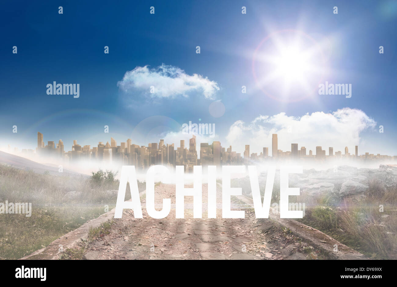 Achieve against stony path leading to large urban sprawl under the sun - Stock Image
