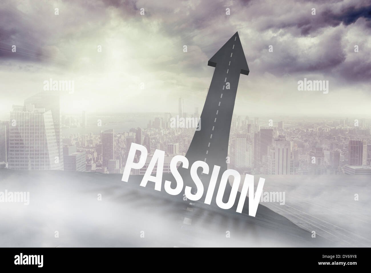 Passion against road turning into arrow Stock Photo