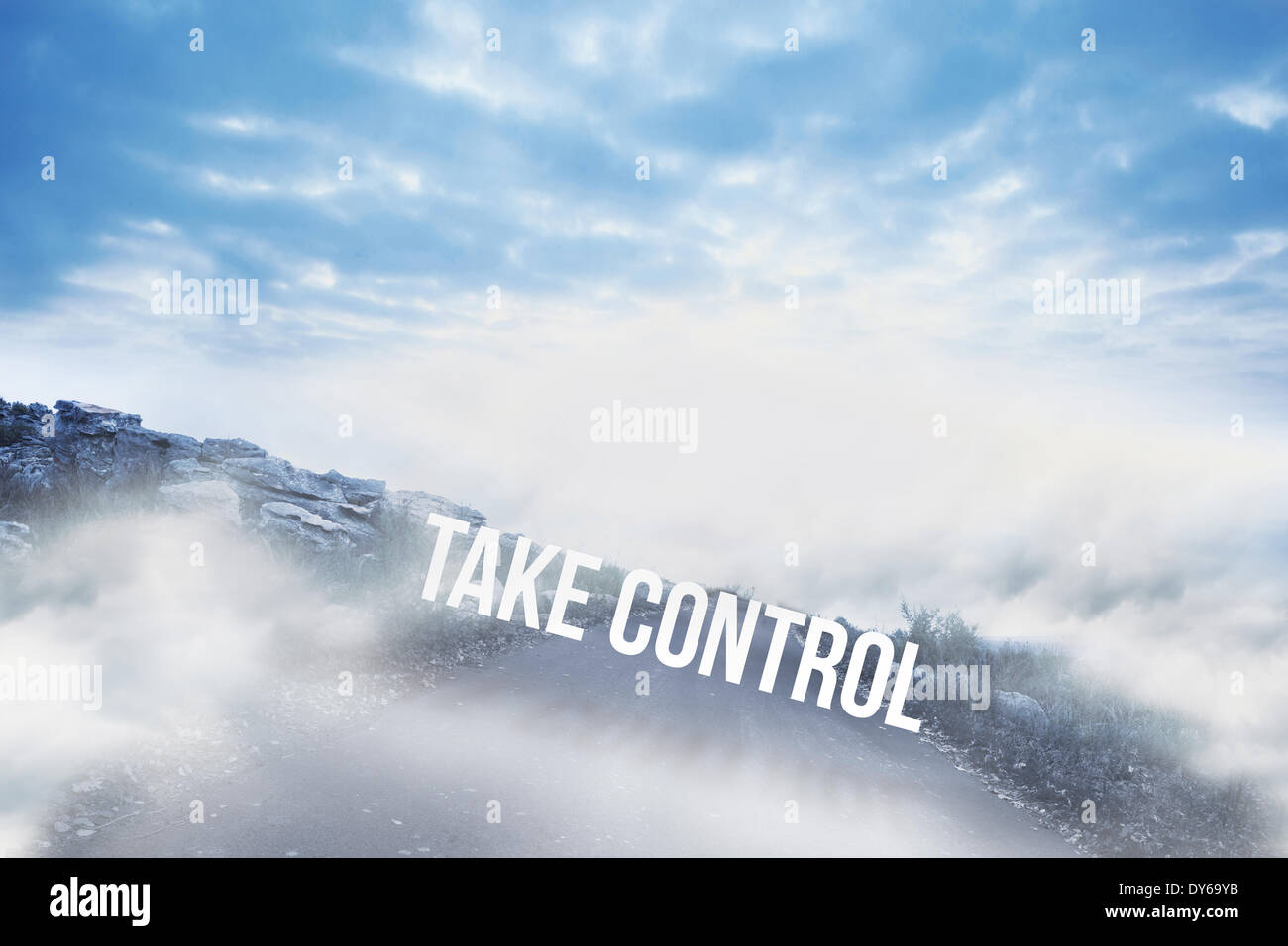 Take control against road leading out to the horizon - Stock Image