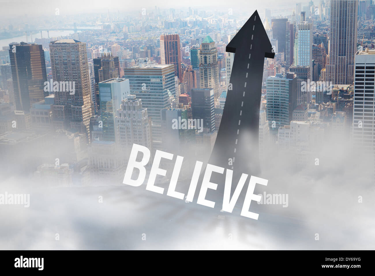Believe against road turning into arrow - Stock Image