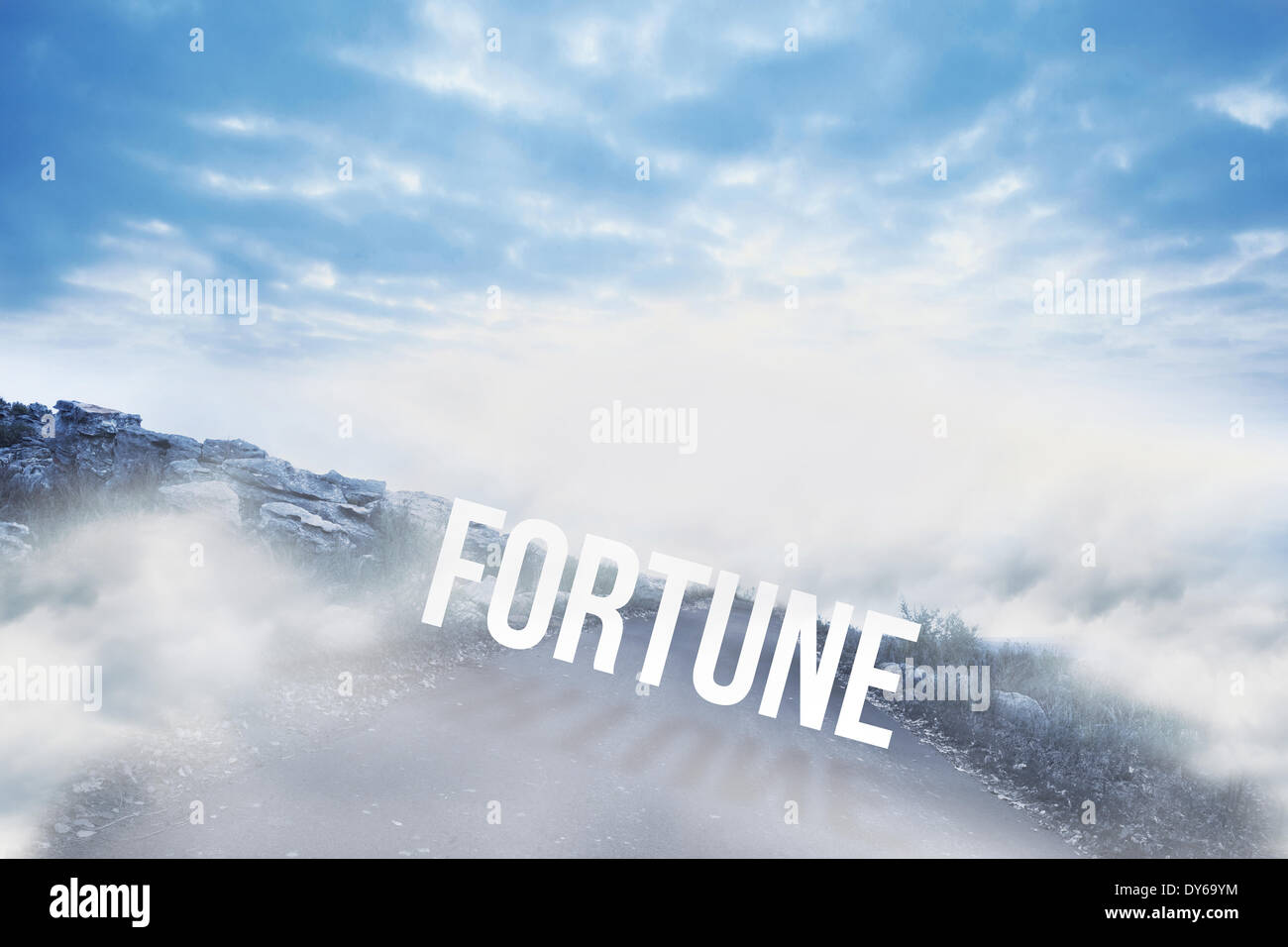 Fortune against road leading out to the horizon - Stock Image