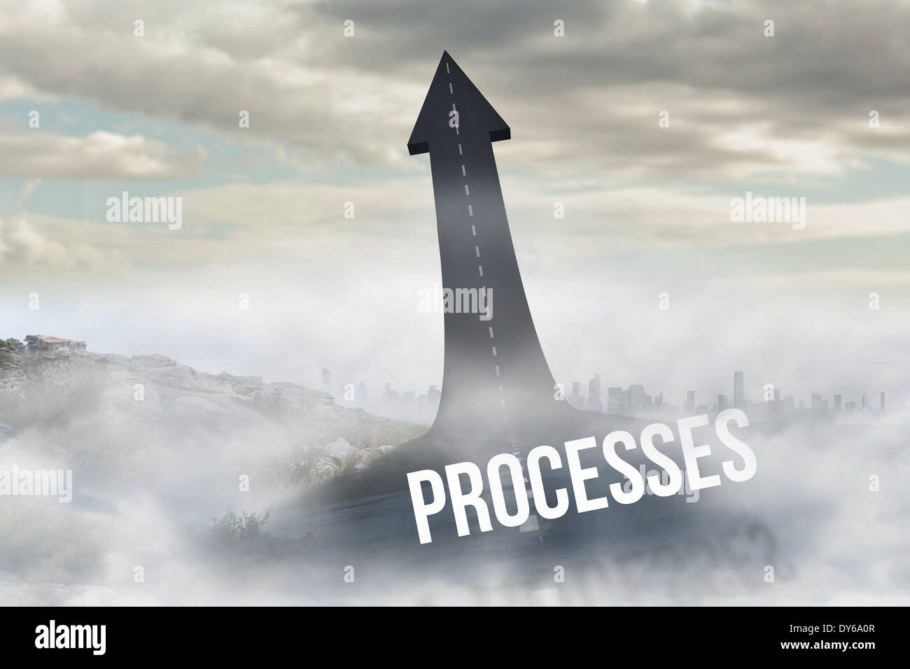 Processes against road turning into arrow - Stock Image