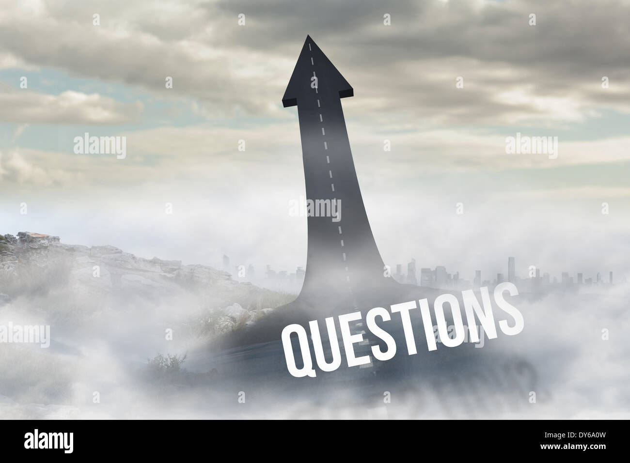 Questions against road turning into arrow - Stock Image