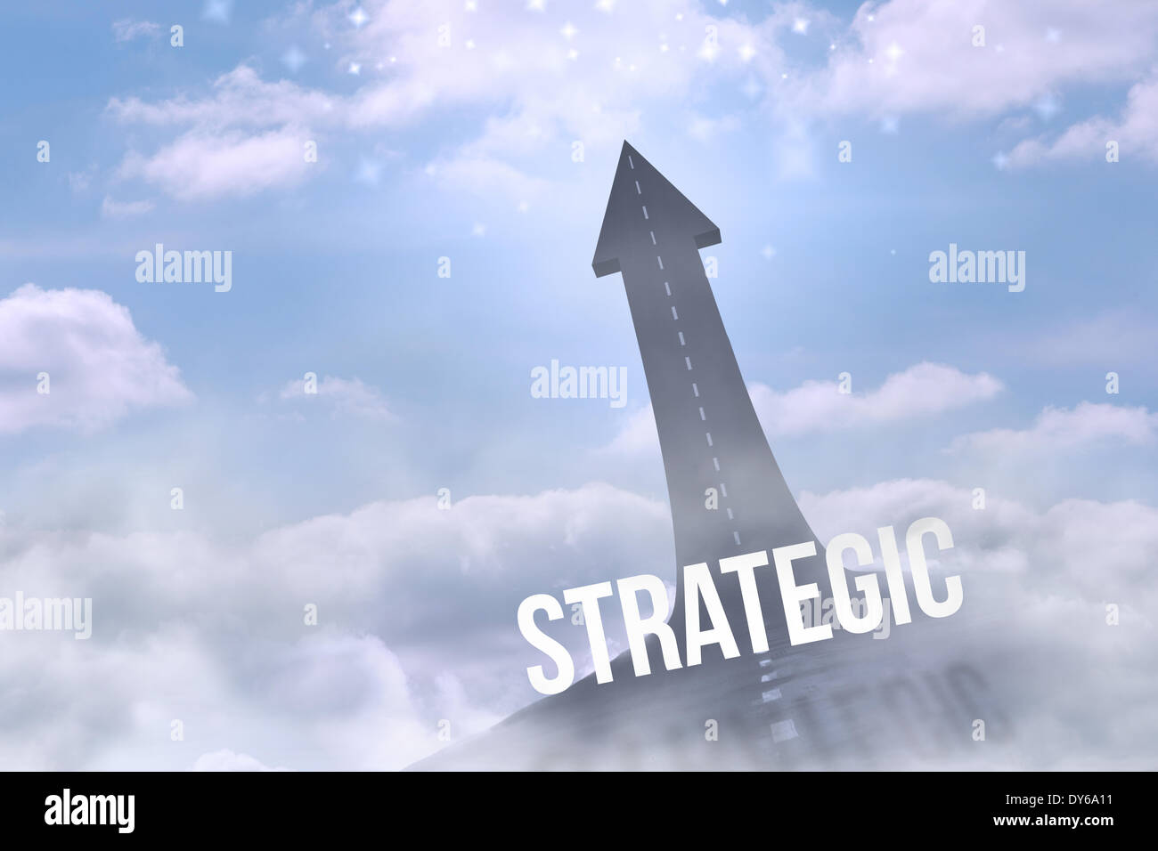 Strategic against road turning into arrow - Stock Image
