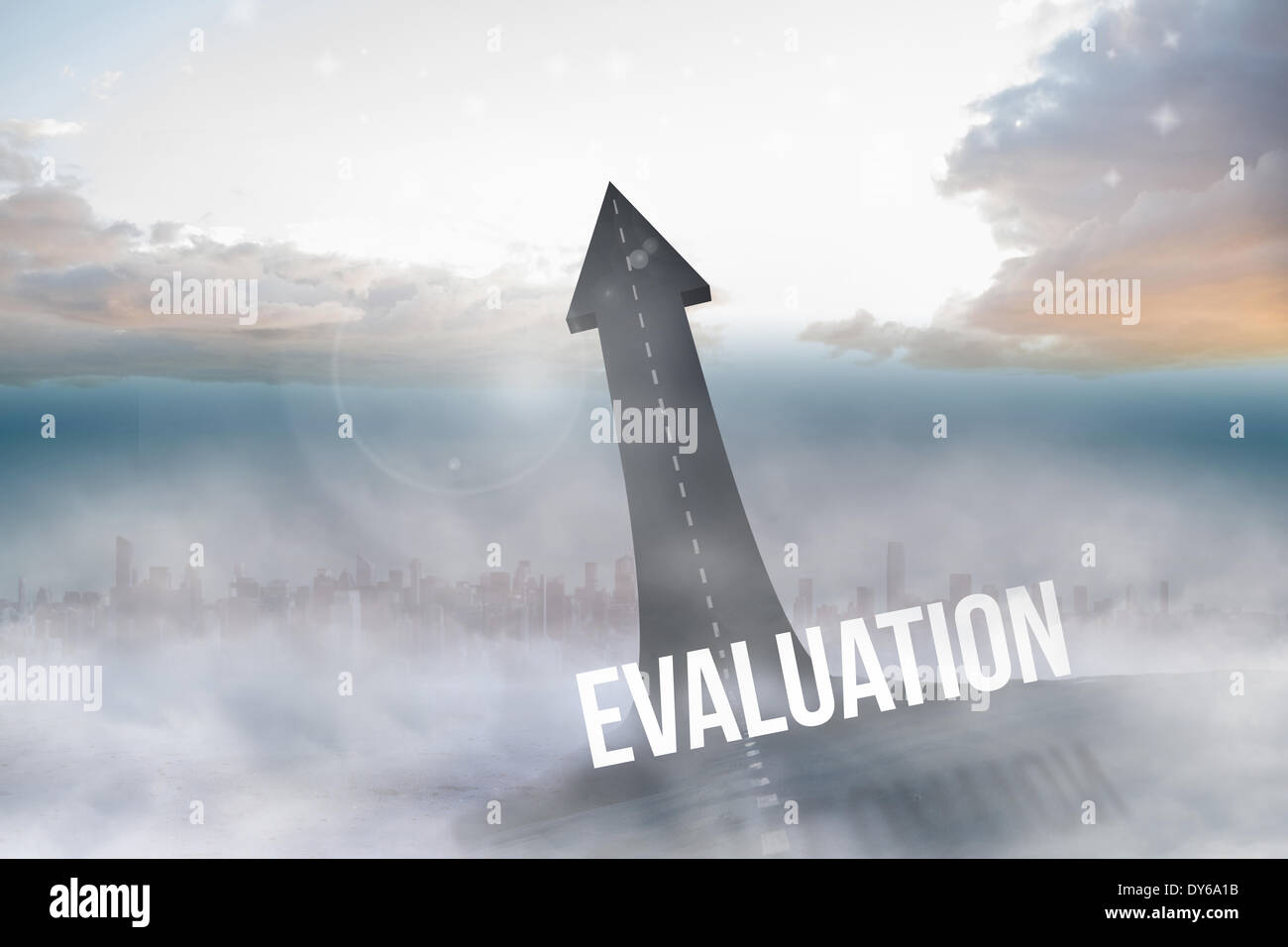 Evaluation against road turning into arrow - Stock Image