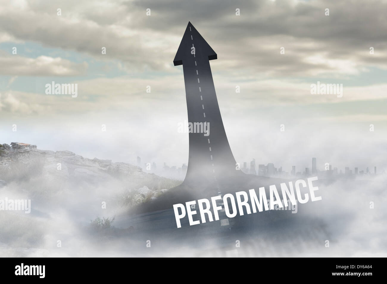 Performance against road turning into arrow - Stock Image