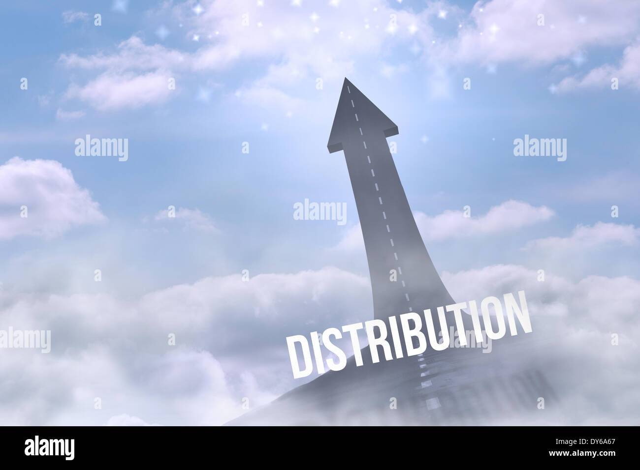 Distribution against road turning into arrow - Stock Image