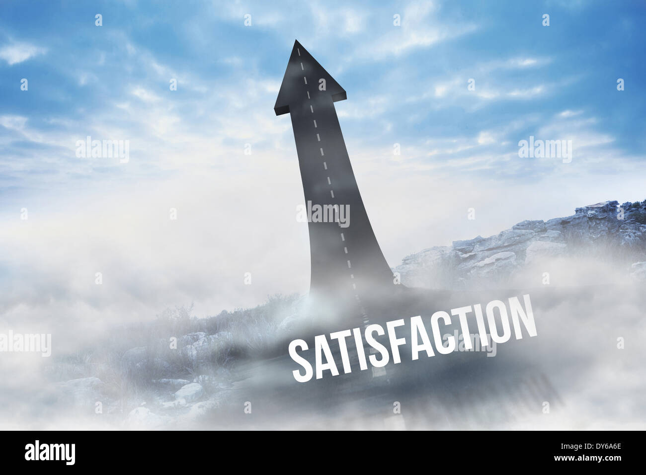 Satisfaction against road turning into arrow - Stock Image